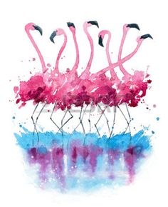 cartoon flamingo: Flamingos watercolor painting …