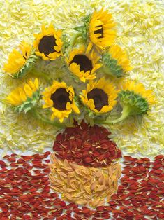 "Van Gogh's ""Vase with 12 Sunflowers"" remade by Qi Wei Fong: Booooooom + Adobe Remake photo project"