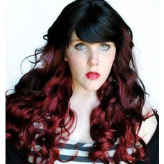 Red and Black Wigs | SALE Ruby Flame wig // Ombre Black Brown Red // Auburn Curly Long Loli ...