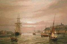 """Lighthouse Hand-Painted Neoclassical Wholesale Wall Decor Paintings Reproduction Sailboat, Size: 36"""" x 24"""", $112. Url: http://www.oilpaintingshops.com/lighthouse-hand-painted-neoclassical-wholesale-wall-decor-paintings-reproduction-sailboat-2070.html"""