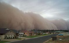 A huge sand storm picture. This natural disaster is approaching a neighborhood and threatening peoples lives in this nature gone bad photo.