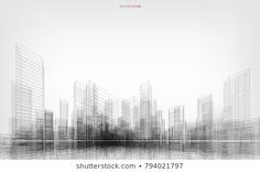 Perspective render of building wireframe. Vector wireframe city background of building. Architecture Business Cards, Architecture Tattoo, Architecture Student, Architecture Portfolio, 3d Building Design, Building Images, Building Building, Glass Film Design, Arte Dope
