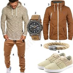 Slick mens streetware look complete with neutral colors and accesories. #virileman5