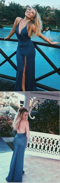 Mermaid Spaghetti Straps Criss-Cross Straps Blue Stretch Satin Prom Dress Dress Up On Style Simple Prom Dress, Maxi Dress With Slit, Dress Prom, Prom Dresses For Teens, Cheap Prom Dresses, Ball Dresses, Navy Blue Party Dress, Beautiful Prom Dresses, Special Occasion Dresses