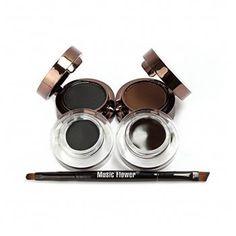 Ucanbe Cosmetics 4 in 1 Brown Black Gel Eyeliner and Eyebrow Powder Water-proof Eye Makeup Cosmetic Set by UCANBE Best Gel Eyeliner, Bold Eyeliner, Eyeliner Brush, Brow Brush, Brow Kit, Brown Eyeshadow, Matte Eyeshadow, Makeup Set, Eye Makeup