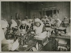 American Red Cross workers sewing surgical dressings. World War 1, London, England ~