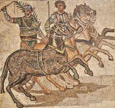 HISPANIA ROMANA Cuadriga de la Factio Prasina - Mosaico romano, Museo Arqueológico Nacional