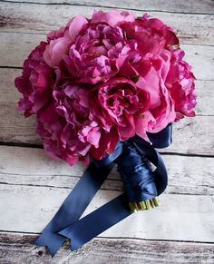 Fuchsia and Navy Peony Wedding Bouquet by KateSaidYes on Etsy, www.katesaidyes.etsy.com
