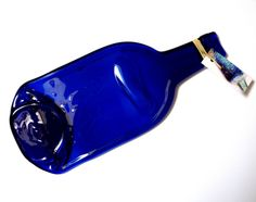 Flat bottle  bottle spoon rest blue glass cheese board melted bottle last minute gifts Gift for drinkers foodies cheese lovers cooks #Etsy #Share #EtsyShop Shared by #BaliTribalJewelry http://etsy.me/1sDZ302