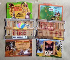 Madagascar themed double slider invitation.