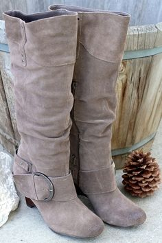 Decorah Dark Suede Leather Slouch Boots