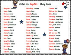 Free States and Capitals Study Guide  Teacher's Take-Out