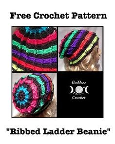 Ribbed Ladder Slouchy Beanie – Free Crochet Pattern
