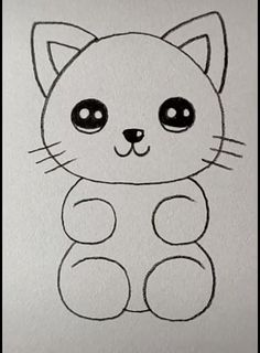 Cat Drawing Easy - Easy Drawings - Cat Drawing Simple Cat Drawing Simple easy step by step disney Puppy Drawing Easy, Simple Cat Drawing, Kitty Drawing, Teddy Bear Drawing Easy, Panda Drawing Easy, Drawing Owls, Yoda Drawing, Cute Little Drawings, Easy Drawings For Kids