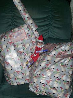 ELF ON THE SHELF IDEAS 2012 Wrapped their Backpacks this would be cute to do for gray with a tag saying that's a wrap for school