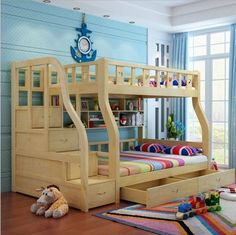 bed for boys on sale at reasonable prices, buy Webetop Kids Beds For Boys And Girls Bedroom Furniture Castle Bunk Bed Children's Twins Double Single Loft Bed from mobile site on Aliexpress Now! Bunk Beds Small Room, Modern Bunk Beds, Cool Bunk Beds, Bunk Beds With Stairs, Kids Bunk Beds, Small Rooms, Bed Rails, Girls Bedroom Furniture, Kids Bedroom