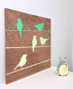Hand painted Birds on a Wire On Wood, Bird Wall Art, Mint Green Decor, Wood Wall Art, Bird Nursery Art, Nature Art, Woodland Nursery Decor