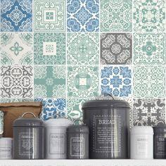 Blue Pastel Tile Stickers - Kitchen Backsplash Tiles - Bathroom Tile Decals - Pack of 36 by Moon WallStickers