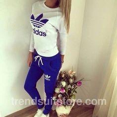 #pants #shirt #adidas Stylish women's navy blue and milky sweatsuit