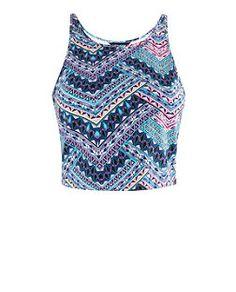Blue Tribal Print Crop Vest  | New Look