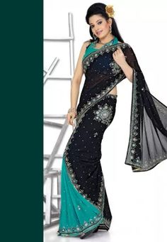 Lehenga Style Chiffon Saree in Black and Blue