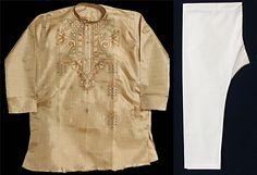 Embroidered Beige Tussar Kurta and Pyjama (Silk Tussar)) Spencer?