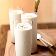 Banana Cream Pie Smoothie    Unlike a glass of milk, this smoothie adds a bit of fiber to the mix. And you still get more than 30% of your daily calcium, along with nearly 10 grams of protein.