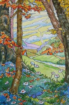 """""""Down Autumn Valley Storybook Cottage Series"""" - Original Fine Art for Sale - © Alida Akers"""