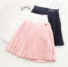 Color:pink,white,navy blue,Size:one material:cotton.Tips: *Please double check above size and conside Pink/white/navy heart pleated skirts Harajuku Fashion, Kawaii Fashion, Cute Fashion, Skirt Fashion, Fashion Dresses, Cute Skirts, Mini Skirts, Pleated Skirts, Skirt Outfits