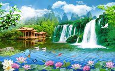 (1) Waterfalls Landscape | AJ Wallpaper 3d Wallpaper Waterfall, 3d Foto, Vinyl Doors, Pixel Image, Paper Wallpaper, Fabric Textures, Paul Gauguin, Landscape Wallpaper, Traditional Wallpaper