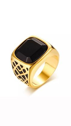 Gold Plated Rings, Gold Rings, Biker Rings, Agate Ring, Stone Gold, Black Stones, Black Agate, Stainless Steel Rings, Signet Ring