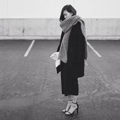 Heels & chunky knits.  @alyyyssalauu in the Foxy Roxy Scarf. #regram #woolandthegang