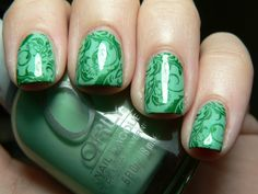 Base is Orly Ancient Jade with Pure Ice Hearbreaker layered over. BM21 stamped in China Glaze Jolly Holly