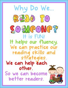 """Sharing Kindergarten: Kindergarten Daily 5 Book Study Chapter 5- Reading with Someone"""" - Awesome posters and resources for Daily 5 on this blog!"""