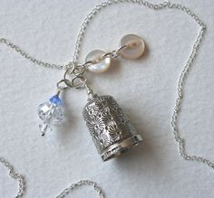 Silver Thimble Charm Necklace Something Blue Crystals and Mother of Pearl Buttons