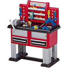 @Overstock - Your child will enjoy hours of creative play with this 38-piece plastic workbench. This set includes a battery-operated drill, a hammer, nails, and ruler. Made of plastic, this set is safe, durable, and easy to clean. Consider it for a day care. http://www.overstock.com/Sports-Toys/American-Plastic-Toys-38-piece-Deluxe-Workbench/4374350/product.html?CID=214117 $52.99