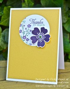 "Stamps: Morning Meadow, Wetlands (sentiment) Ink: Elegant Eggplant and Garden Green markers Card stock: Whisper White, Daffodil Delight core'dinations Other: Pansy and 2 1/2"" circle punches, Garden Green candy dot, stamp-a-majig"