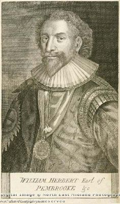 Depiction of William Herbert, 3rd Earl of Pembroke (1580 - 1630), c 1800. William Herbert, 3rd Earl of Pembroke, KG, PC (8 April 1580 - 10 April 1630) was the son of Henry Herbert, 2nd Earl of Pembroke and his third wife, Mary Sidney. Chancellor of the University of Oxford, he founded Pembroke College, Oxford with James VI of Scotland and I of England. He was also a patron of William Shakespeare. He married Mary Talbot, Arbella Stuart's cousin.