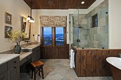 Bathroom rustic lake house bathroom colors Design Ideas, Pictures, Remodel and Decor Slate Shower Tile, Shower Tile Designs, Rustic Bathroom Designs, Bathroom Design Small, Bathroom Colors, Slate Tiles, Bath Design, Lake House Bathroom, Cabin Bathrooms