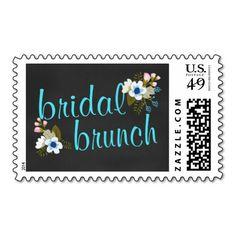 Bridal Shower Brunch Floral Chalkboard Postage