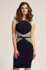 Navy & Cream Lace Panel Cap Sleeve Bodycon Dress - Miss littlemistress dress - eur 82