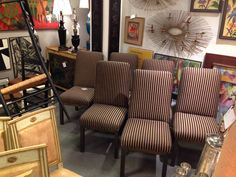Set of six dining chairs, Jere style wall art, paintings and so much more! Visit me in space 34 of the Antique and Design Center.