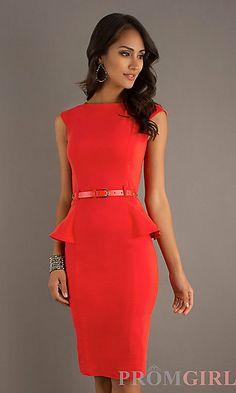 Knee Length Modest Neckline Dress by XOXO at PromGirl.com  http://www.promgirl.com/shop/dresses/viewitem-PD906949