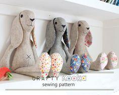 Stuffed animal pattern Easter bunny  pdf pattern by CraftyKooka