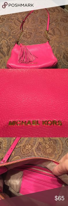 Michael Kors purse Michael Kors hot pink crossbody purse with chain and leather strap Michael Kors Bags Shoulder Bags