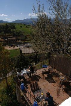 Terrace with spectacular views of mountain ranges of Ronda