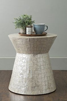 Rossville Off-White Wood and Capiz Round Accent Table/ Side Table/ End Table/ Night Stand/ Coffee Table