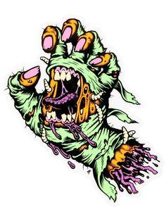 Santa Cruz Stickers, Cruz Tattoo, Santa Cruz Logo, Skate Art, Hand Logo, Surf Art, Dungeons And Dragons, Cool Art, Hands