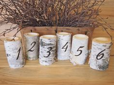 Rustic TABLE NUMBERS - Candle Holder - Tea Candle Size - Natural Woodland Wedding Decor