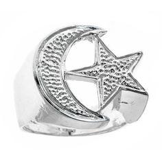 Men's .925 Sterling Silver Muslim / Islamic Crescent Moon & Star Ring